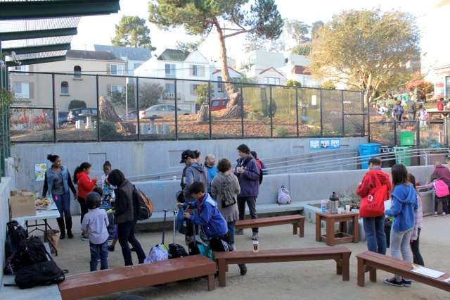 Families Hang Out in the  Lower Garden Classroom
