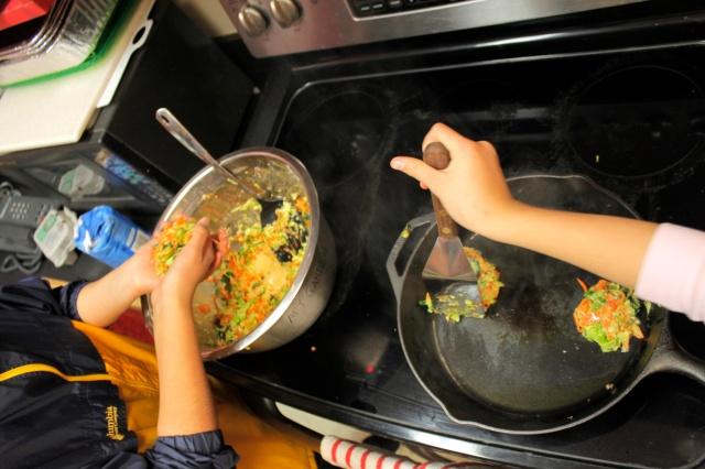 Making Veggie Pancakes