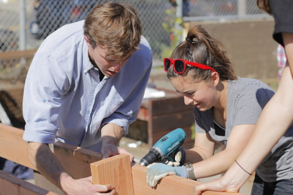 Olivia and Carson Working on the Frame (Photo By Patricia Fung)